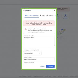 Google Moja Firma - COVID-19 Poinformuj