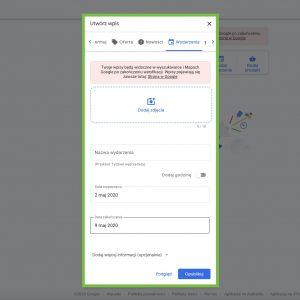Google My Business - Wpis Wydarzenie