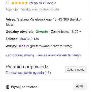 Wizytówka Setia.pl w wyszukiwarce Google
